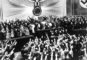 March 1938 – The German Reichstag acclaimed Hitler following the announcement of the annexation of Austria (Anschluss)