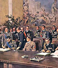 22 May 1939 Berlin – Hitler, between the Foreign Ministers Ciano and Ribbentrop, presided over the signing of the Pact of Steel between Germany and Italy